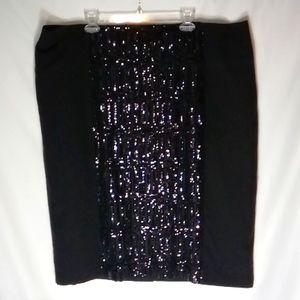 Worthington Women size 24W Black Siquences Skirt
